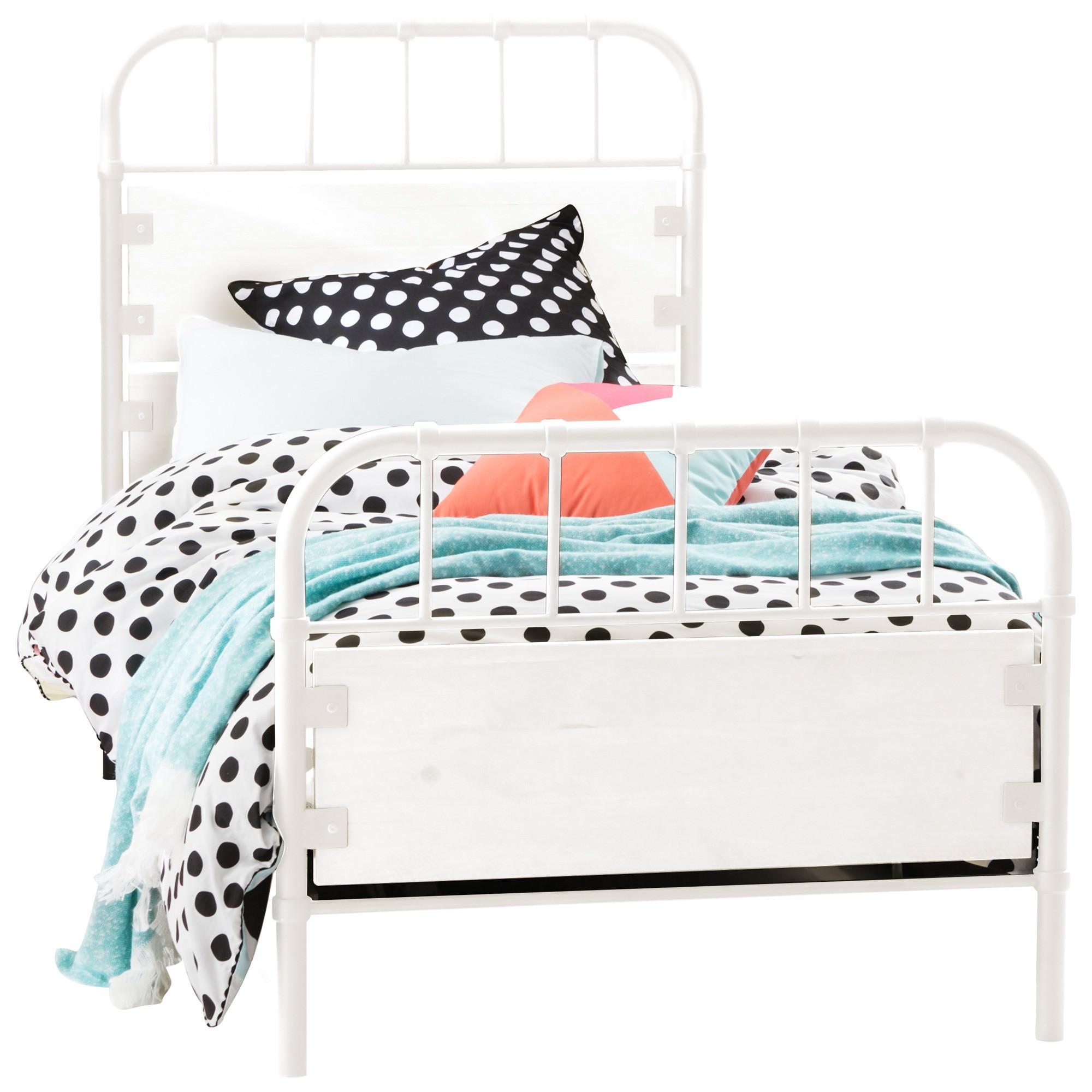 Flinders Metal & Timber Bed, Single, White