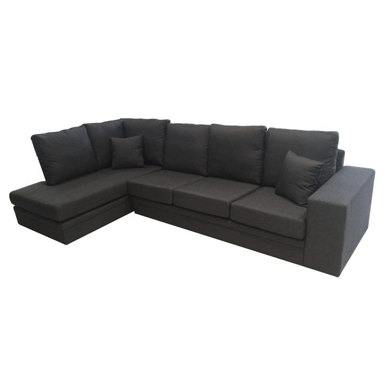 Flint Fabric 3 Seater Sofa Lounge with Left Arm Facing Chaise - Graphite