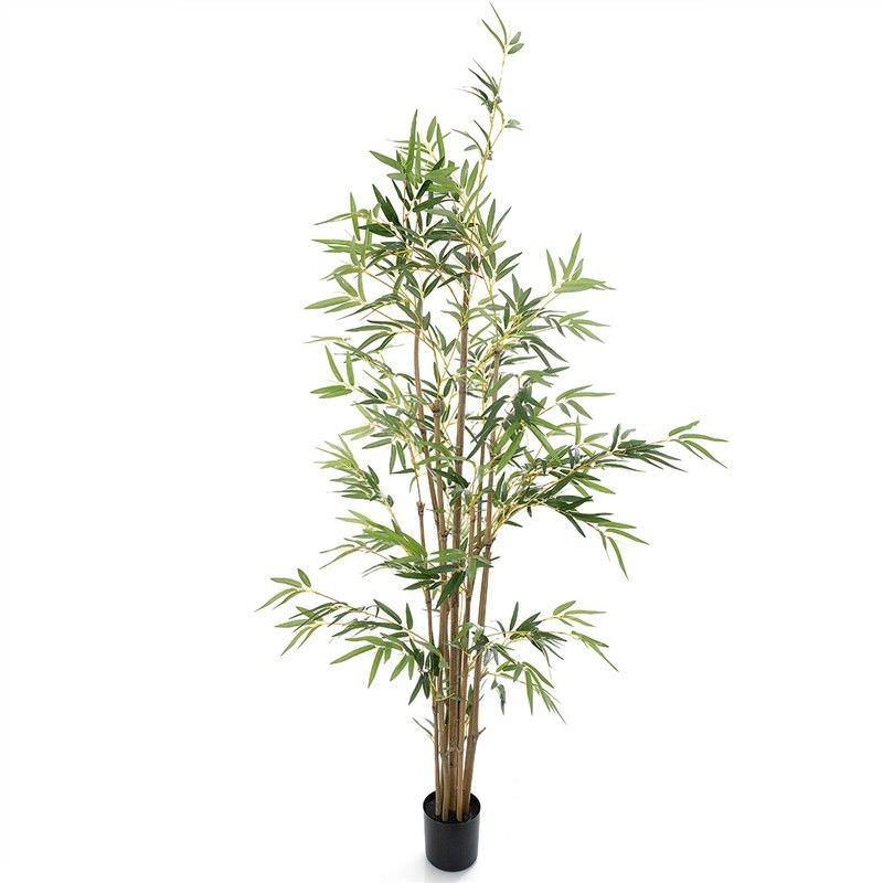 Artificial Potted Bamboo Tree with Natural Trunk, 160cm