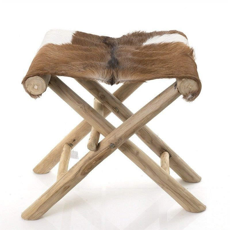Fremont Goat Skin and Solid Timber Folding Stool
