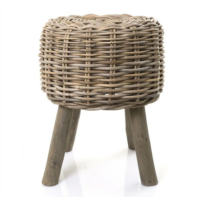 Fremont Rattan and Solid Timber Round Stool