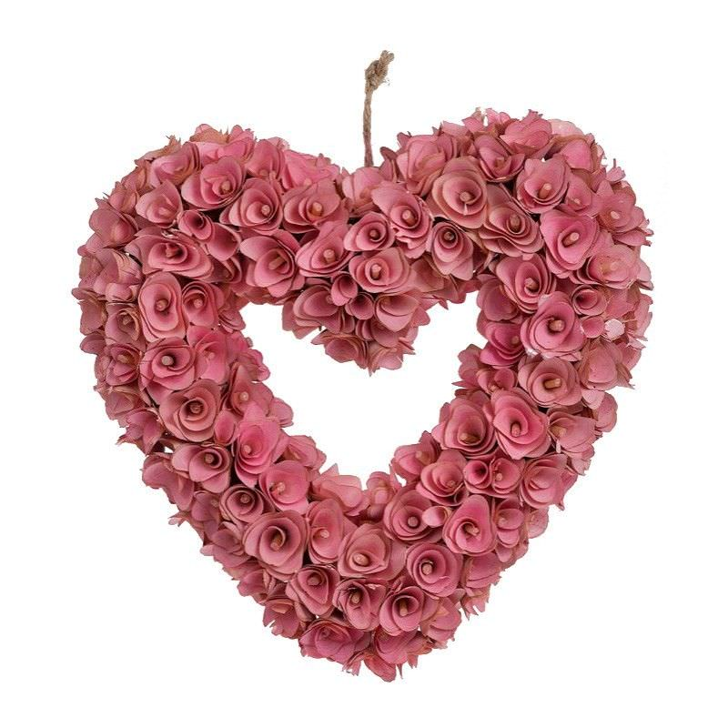 Artificial Rose Heart Wreath, Pink