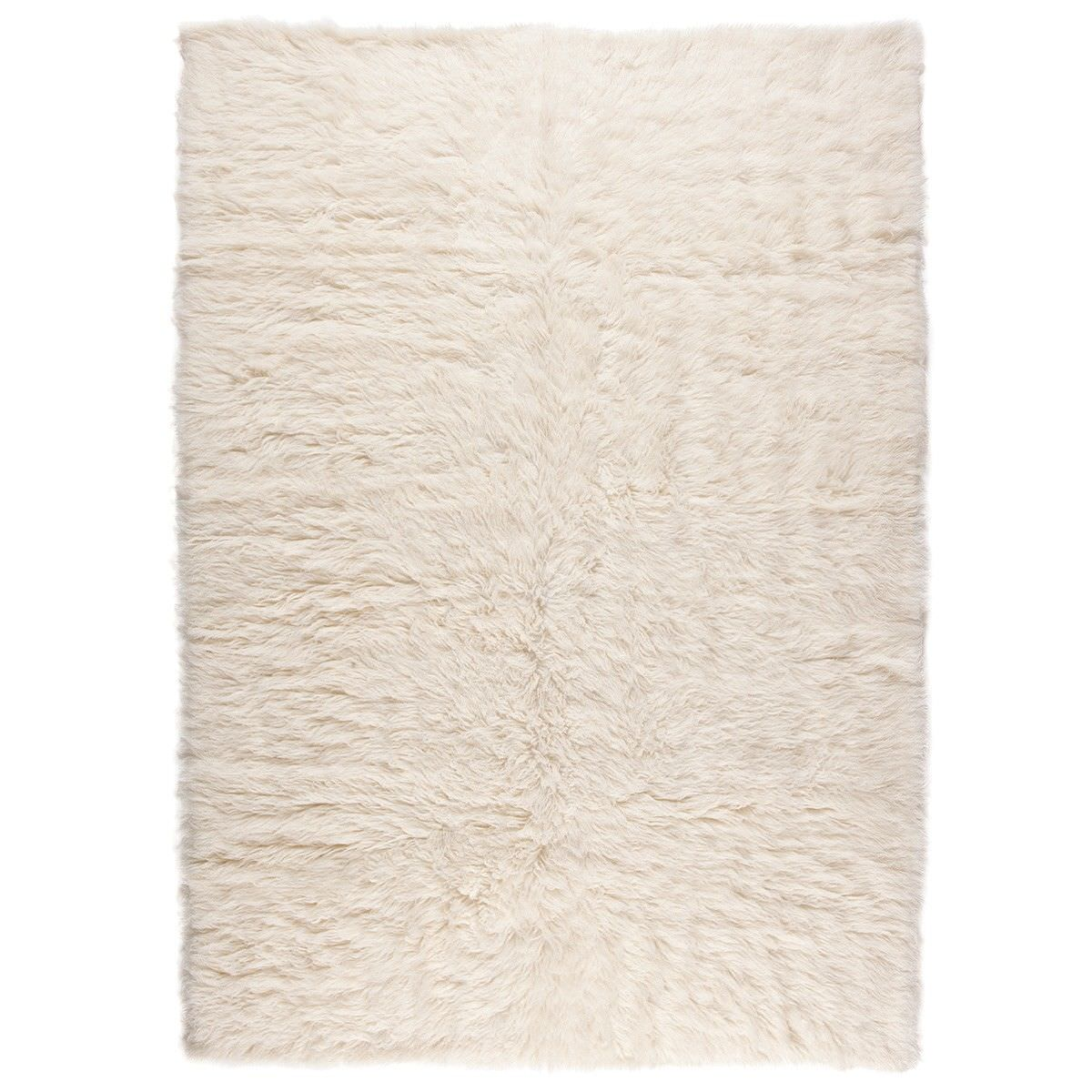 Flokati Greek Made Shaggy Wool Rug, 230x160cm, White