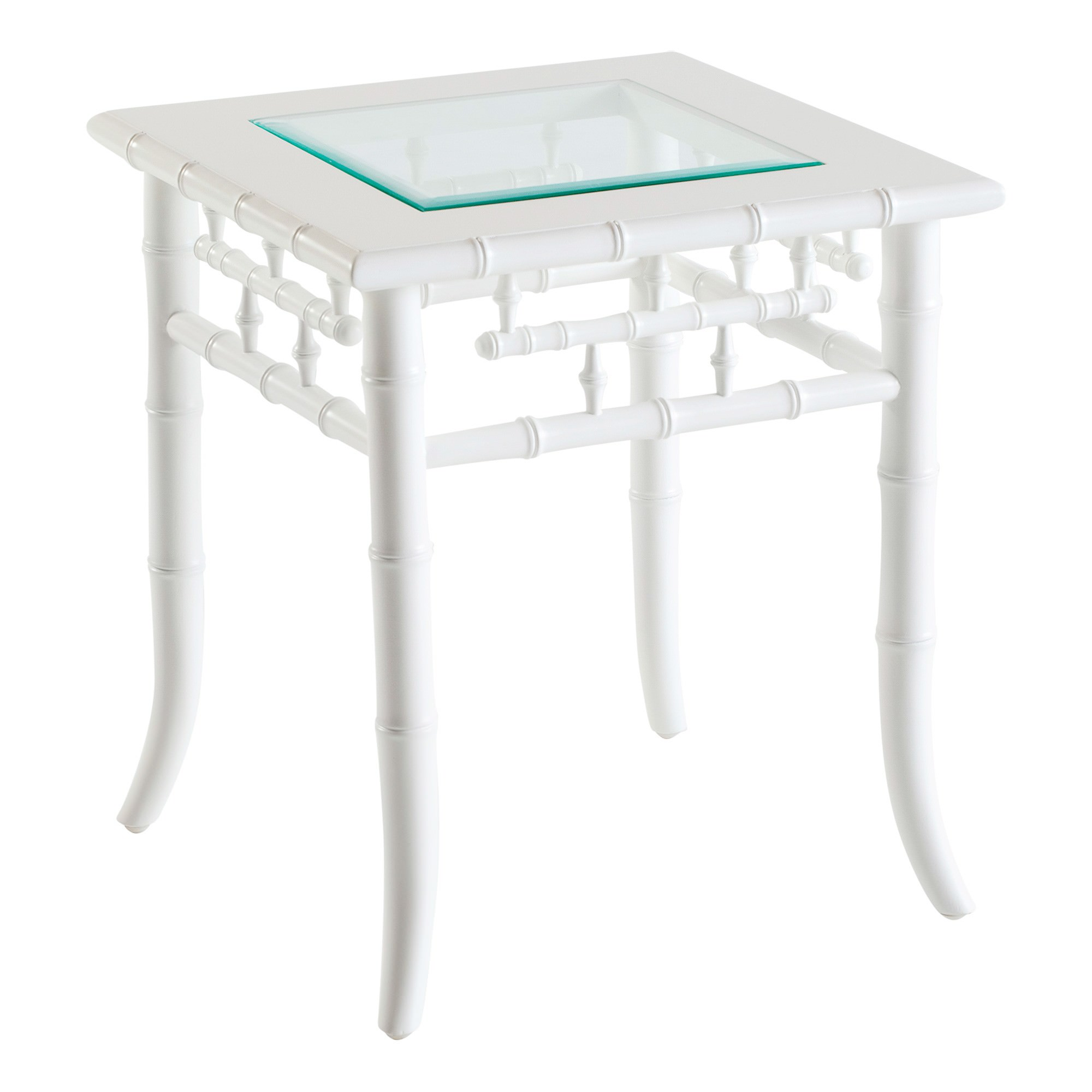 Floria Quays Glass Topped Mahogany Timber Side Table , White