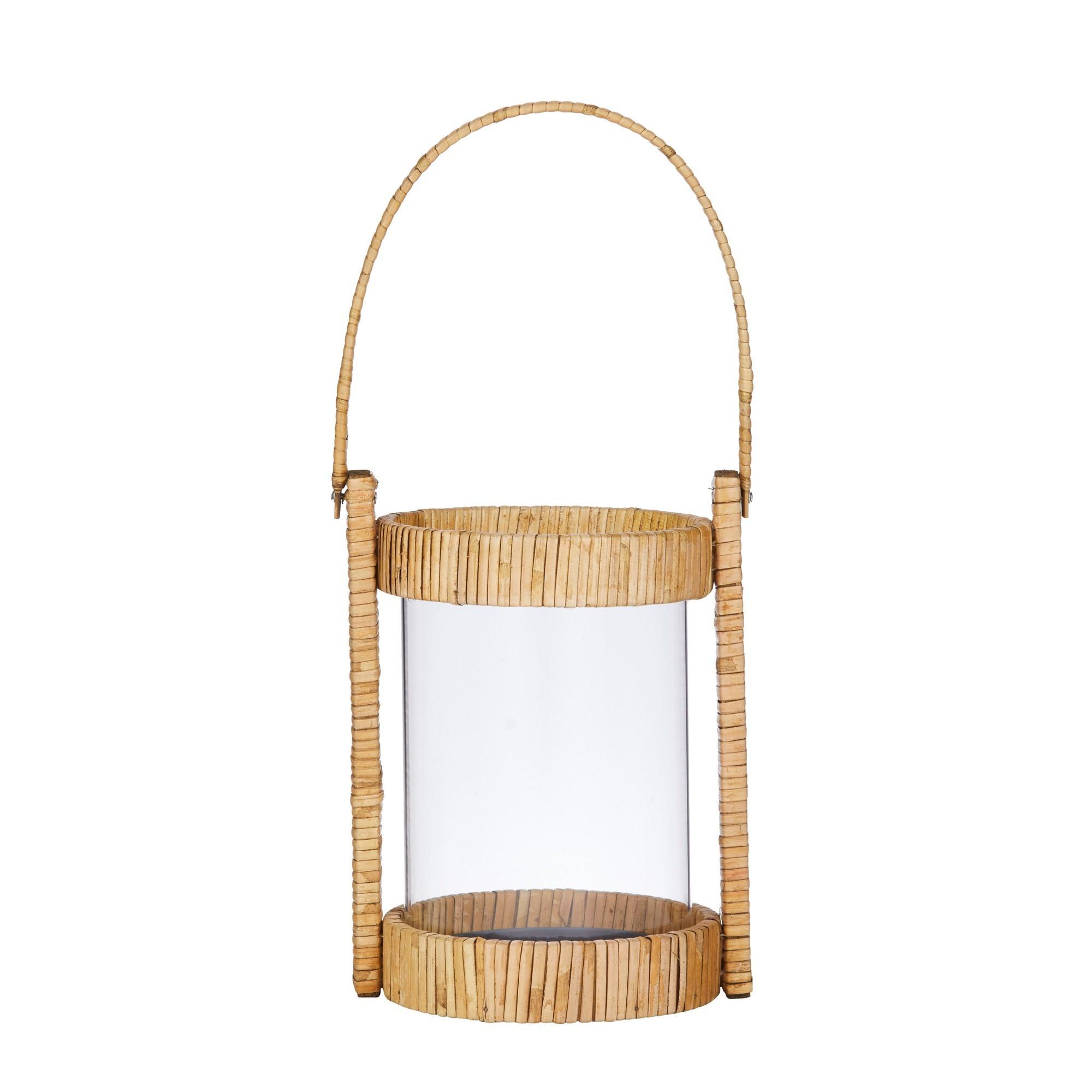 Tango Bamboo Rattan & Glass Lantern