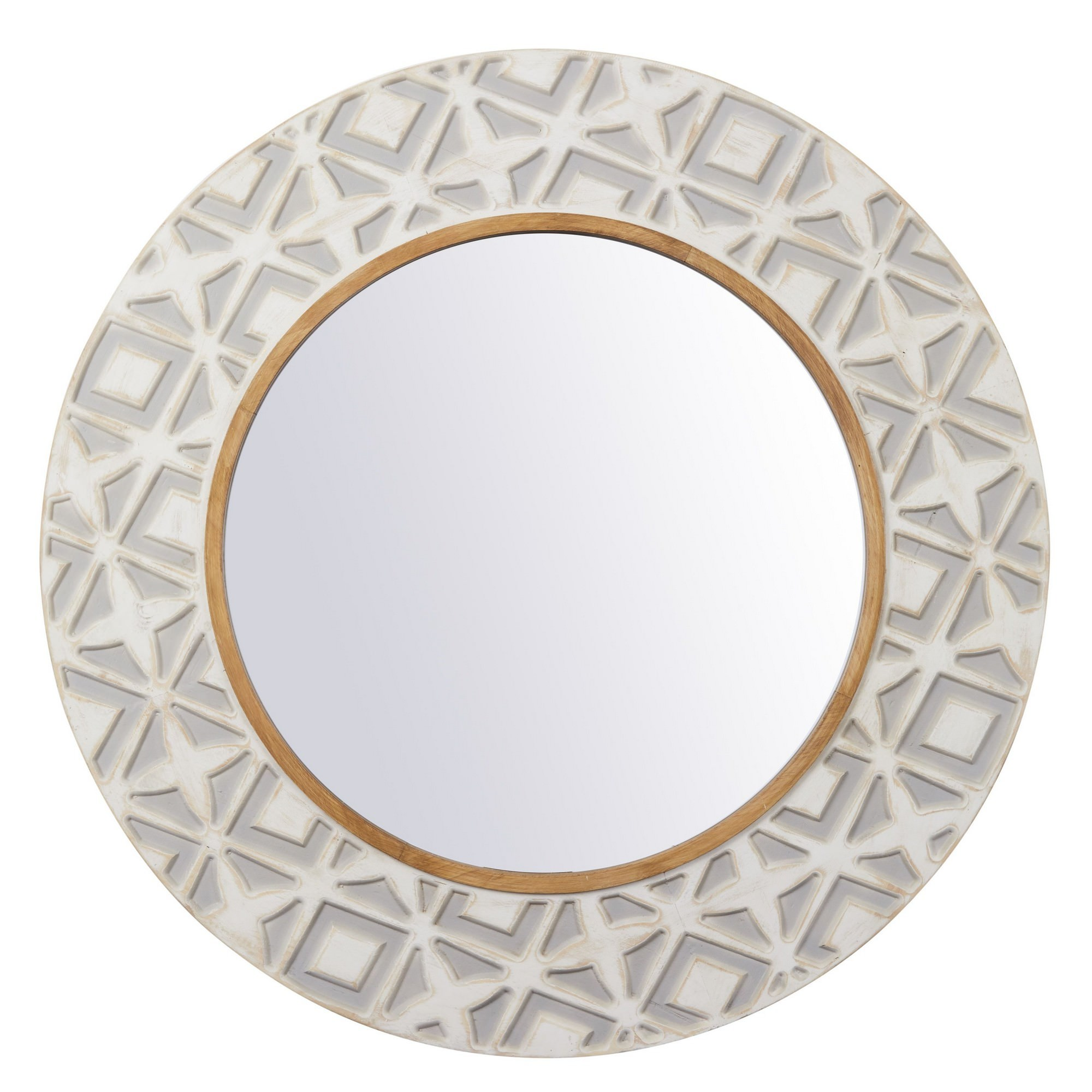 Nile Fir Timber Frame Round Wall Mirror, 90cm