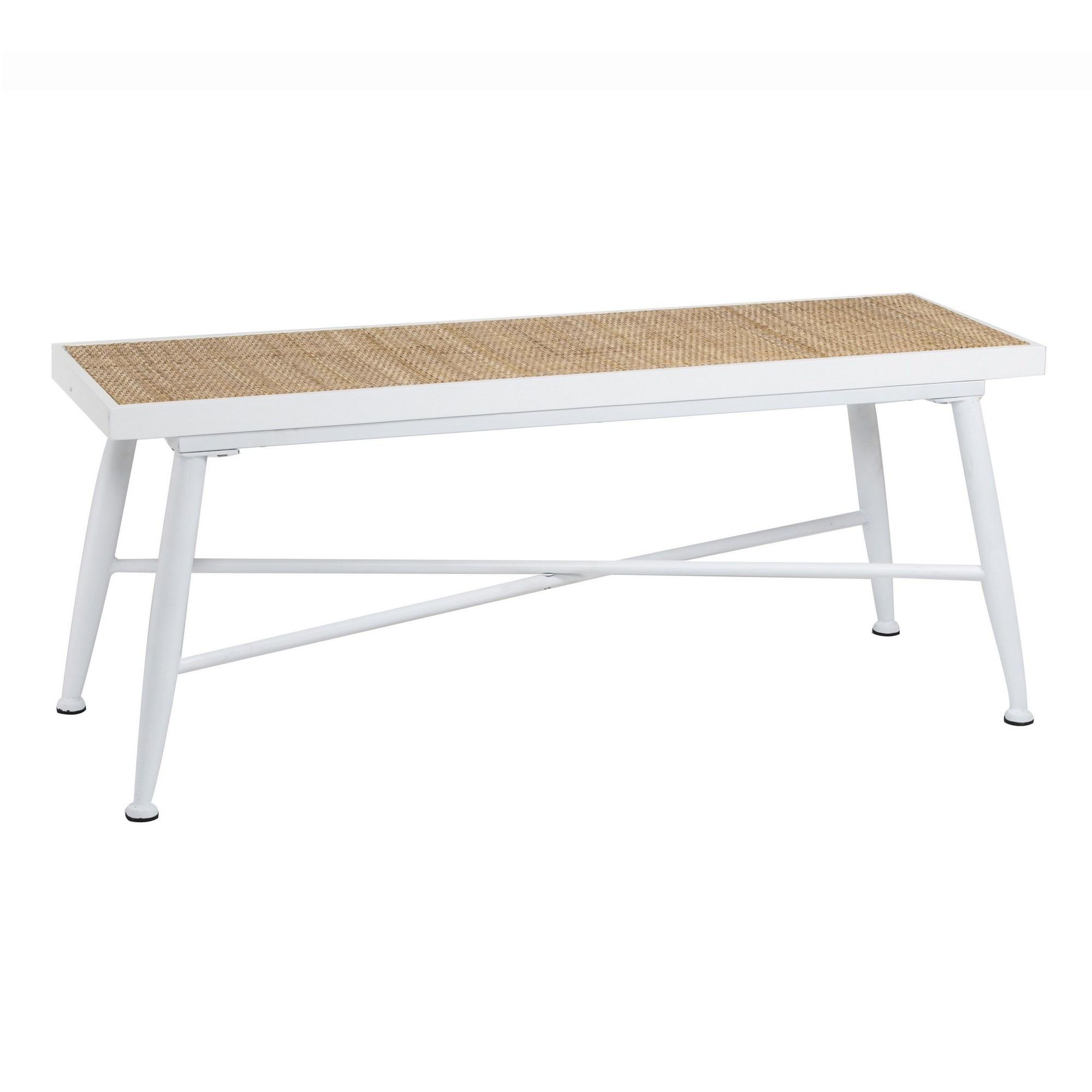 Millen Handmade Wood & Metal Bench with Rattan Seat, 108cm