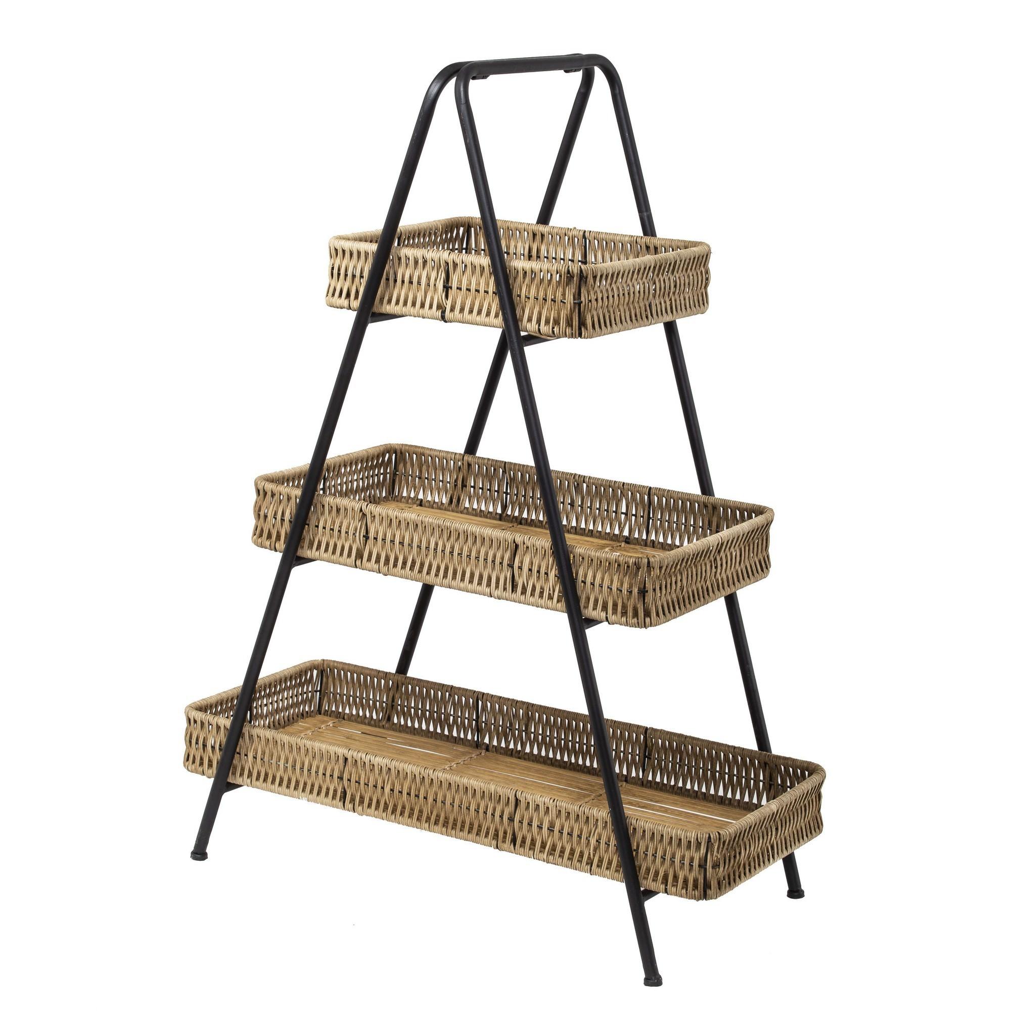 Arikara Handmade Bamboo Rattan & Metal Tray Stand