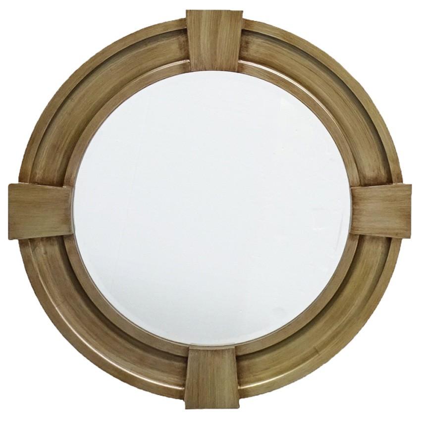 Massey Wood Frame Round Wall Mirror, 80cm
