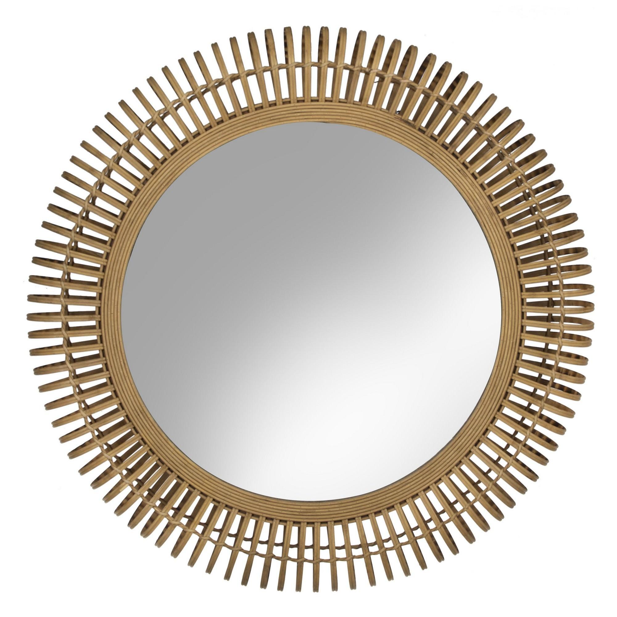 Zeke Bamboo Rattan Frame Round Wall Mirror, 80cm