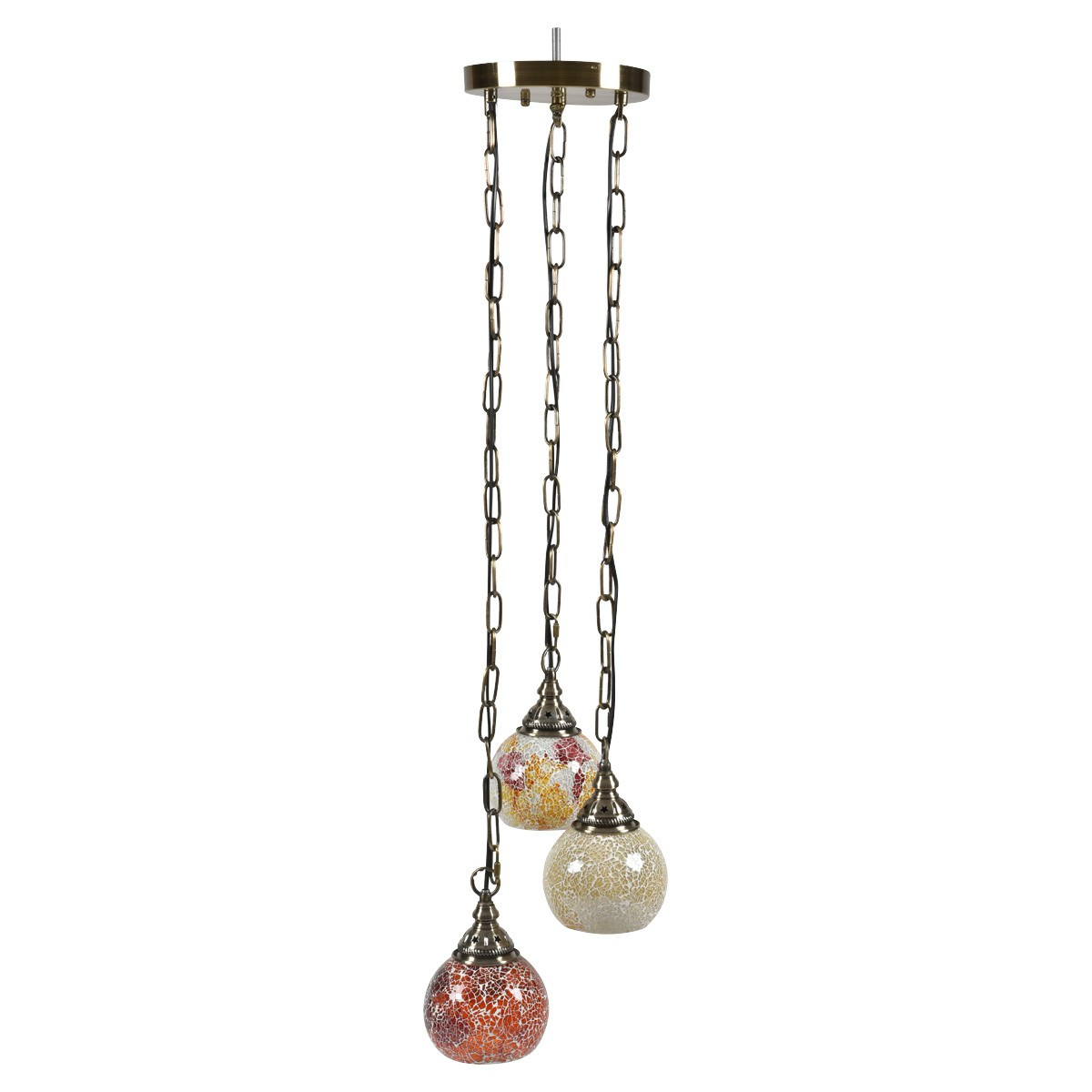 Amara Mosaic Glass Moroccan Cluster Pendant Light, Red Tone