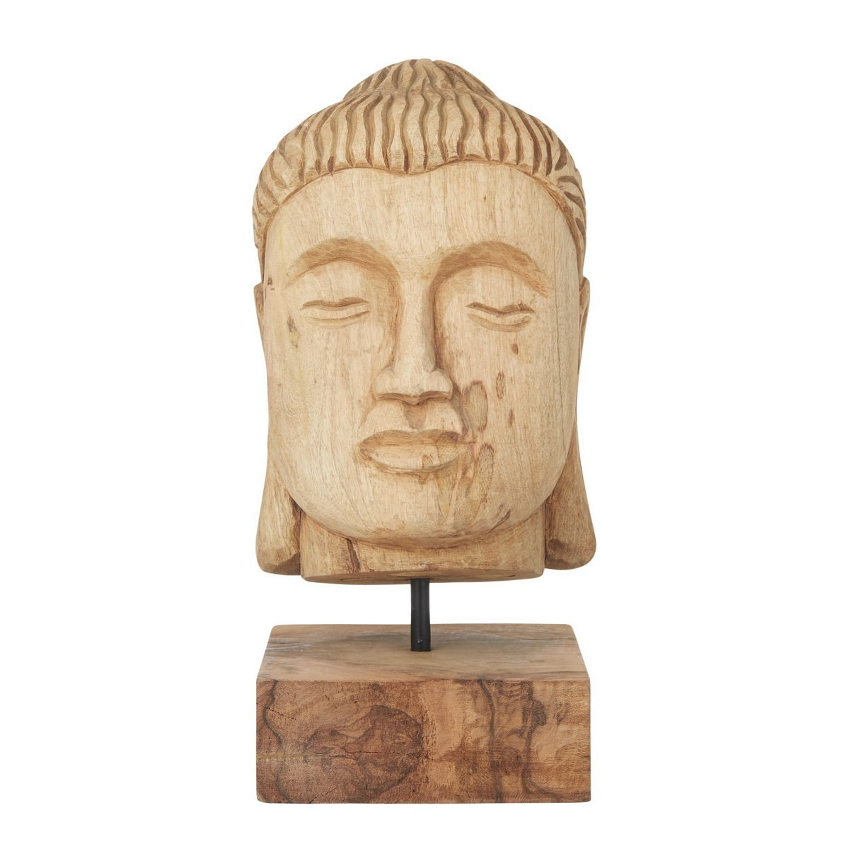 Arkar Carved Mango Wood Buddha Head Sculpture