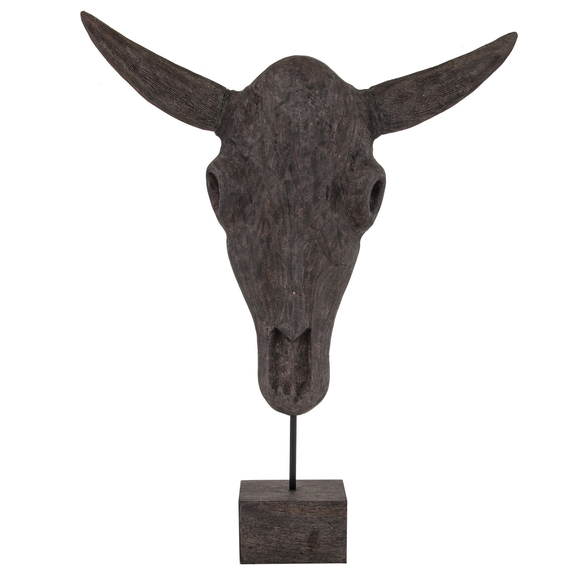 Sidrah Mango Wood Bull Skull Sculpture