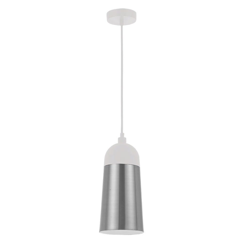 Foil Metal Pendant Light, Silver / White