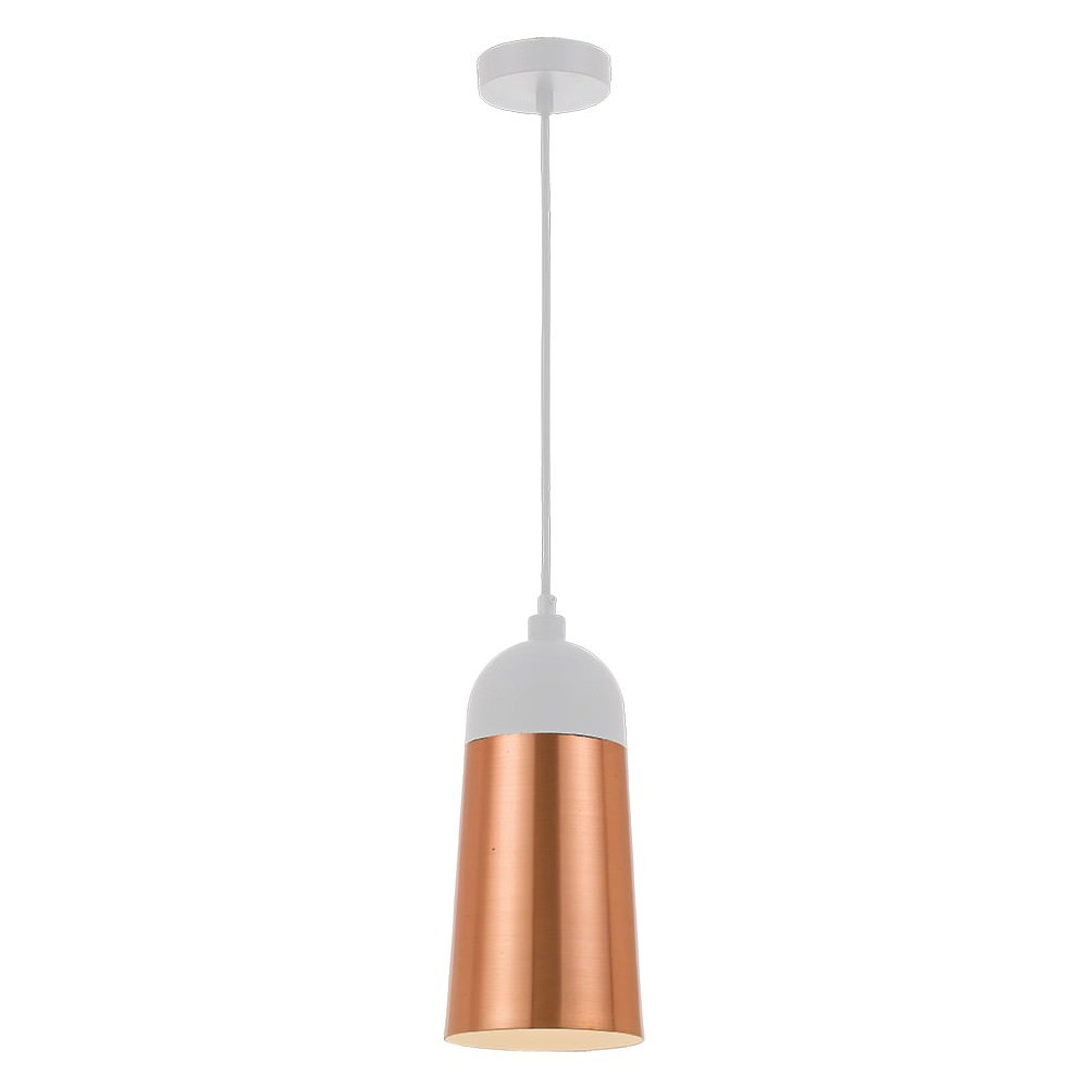 Foil Metal Pendant Light, Copper / White