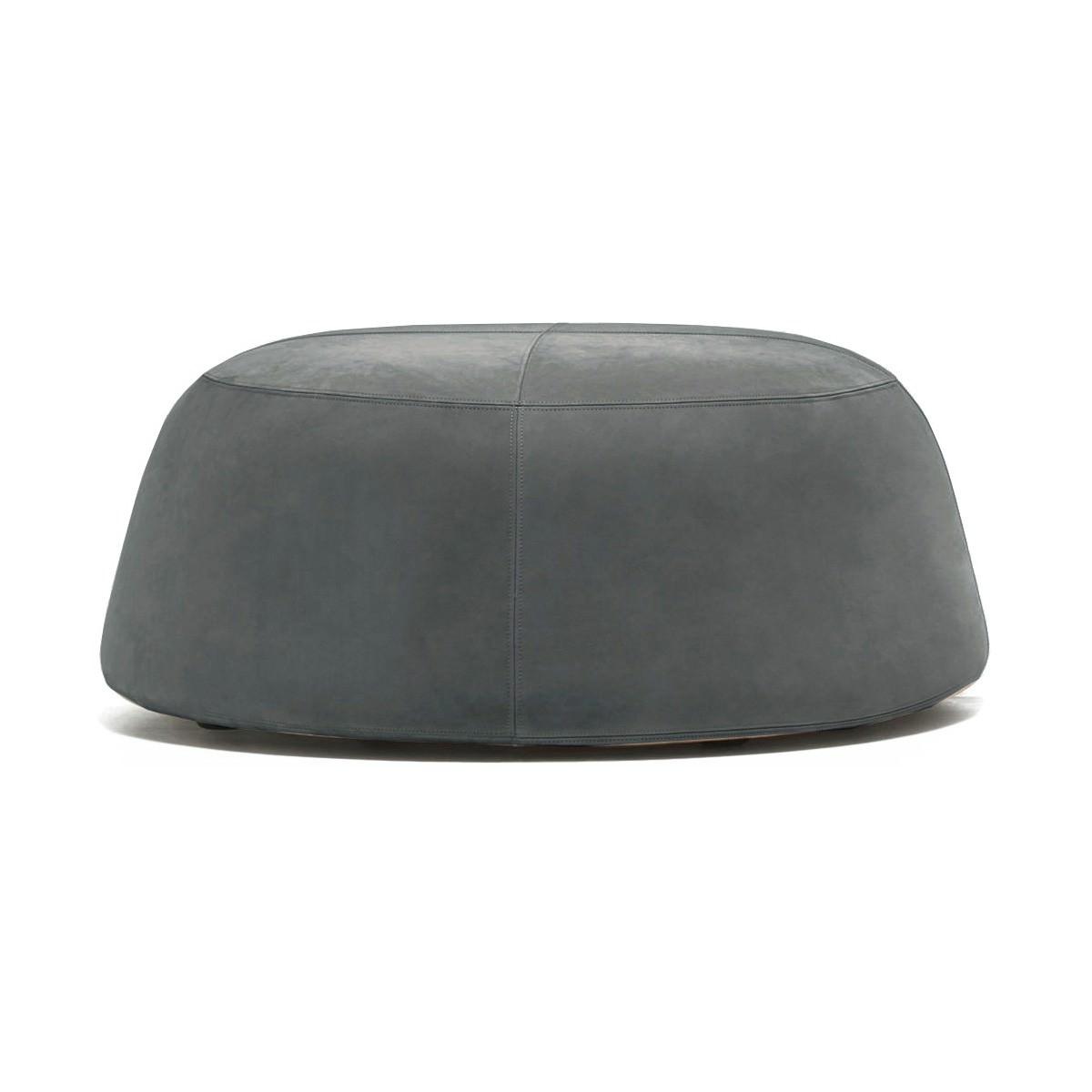 Pippa Velvet Fabric Round Ottoman, Large, Grey