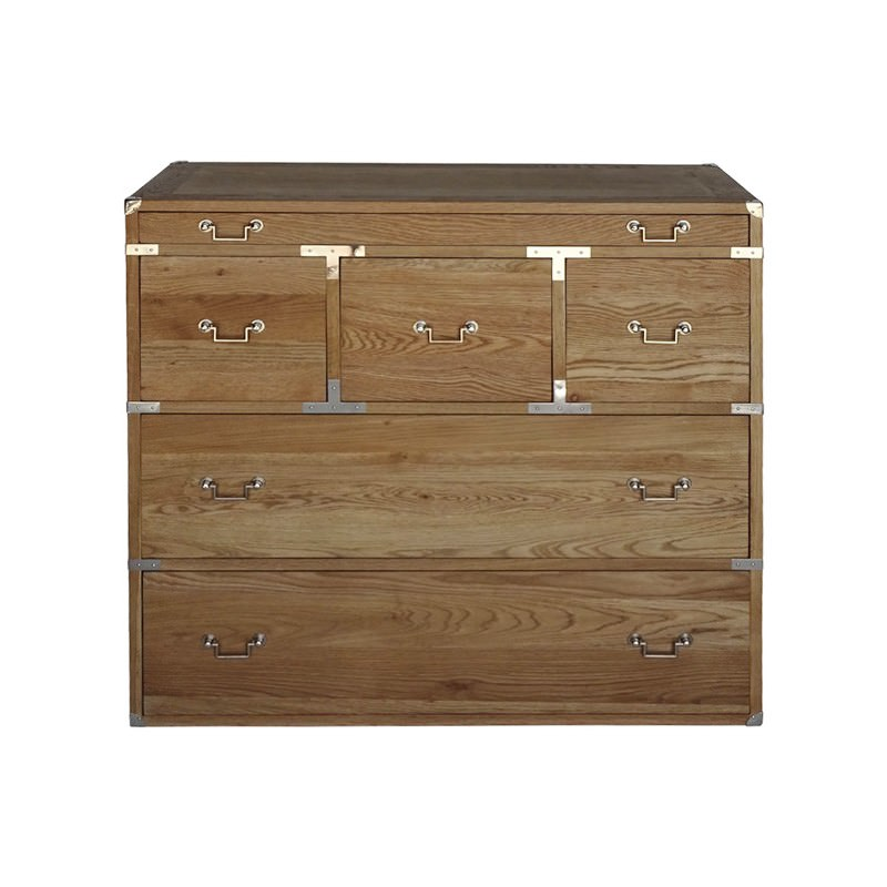 Mary Oak Timber 6 Drawer Cabinet