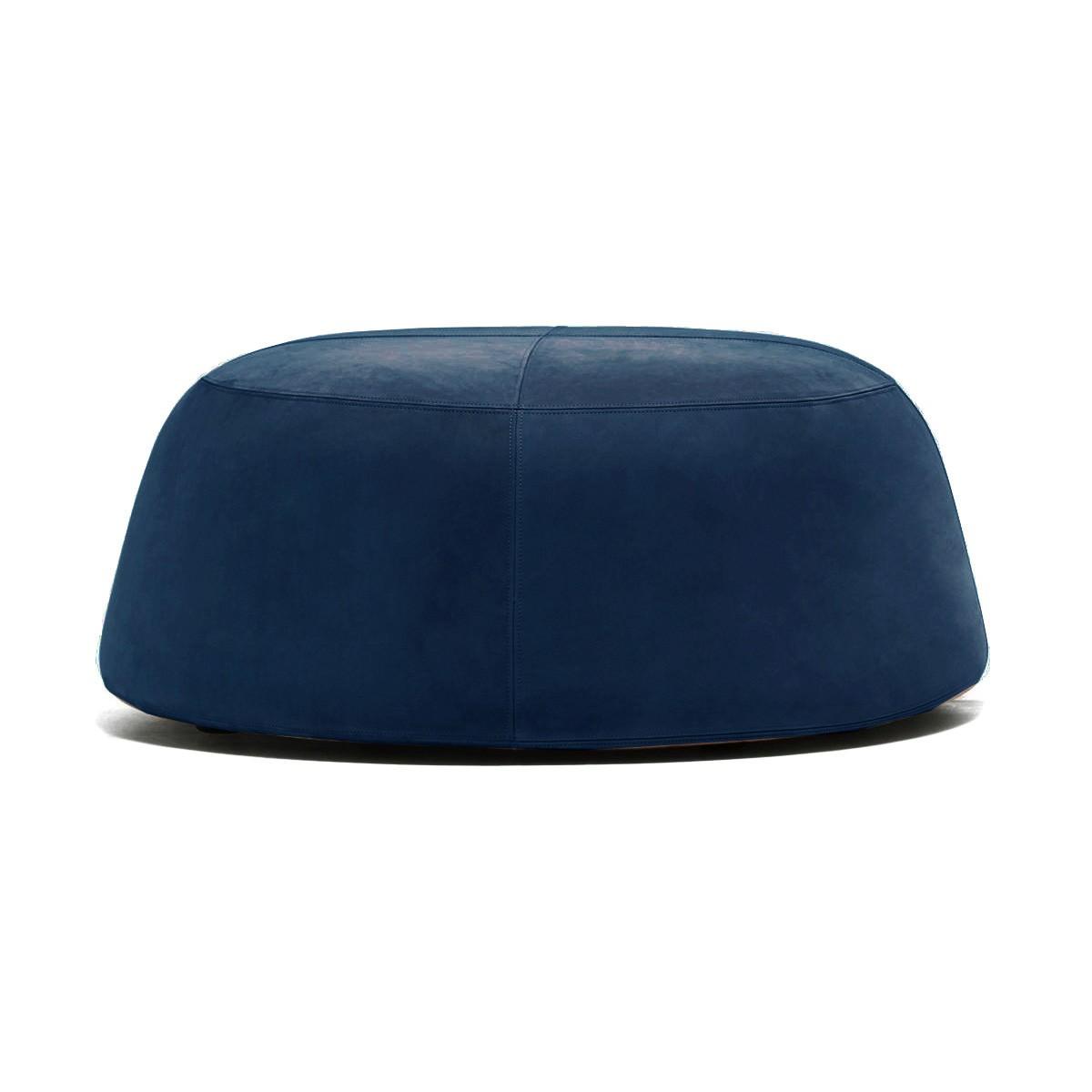 Pippa Velvet Fabric Round Ottoman, Large, Navy