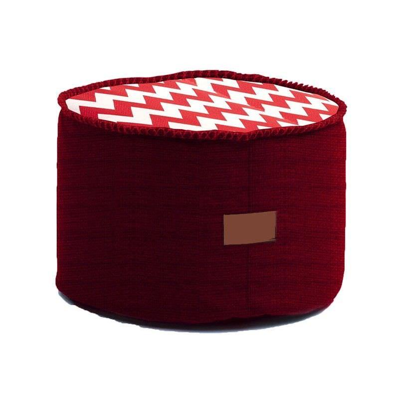 Astor  Bean Bag Ottoman - Red Chevron