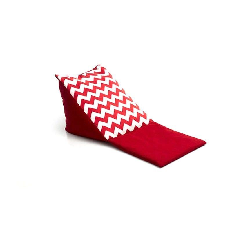 Triangle Bean Bag Head Rest - Red Chevron