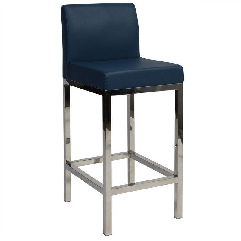 Fuji V2 Commercial Grade Vinyl Upholstered Stainless Steel Counter Stool - Blue