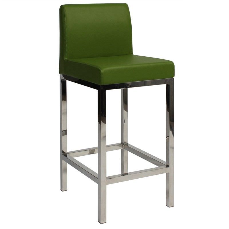 Fuji V2 Commercial Grade Vinyl Upholstered Stainless Steel Counter Stool - Green