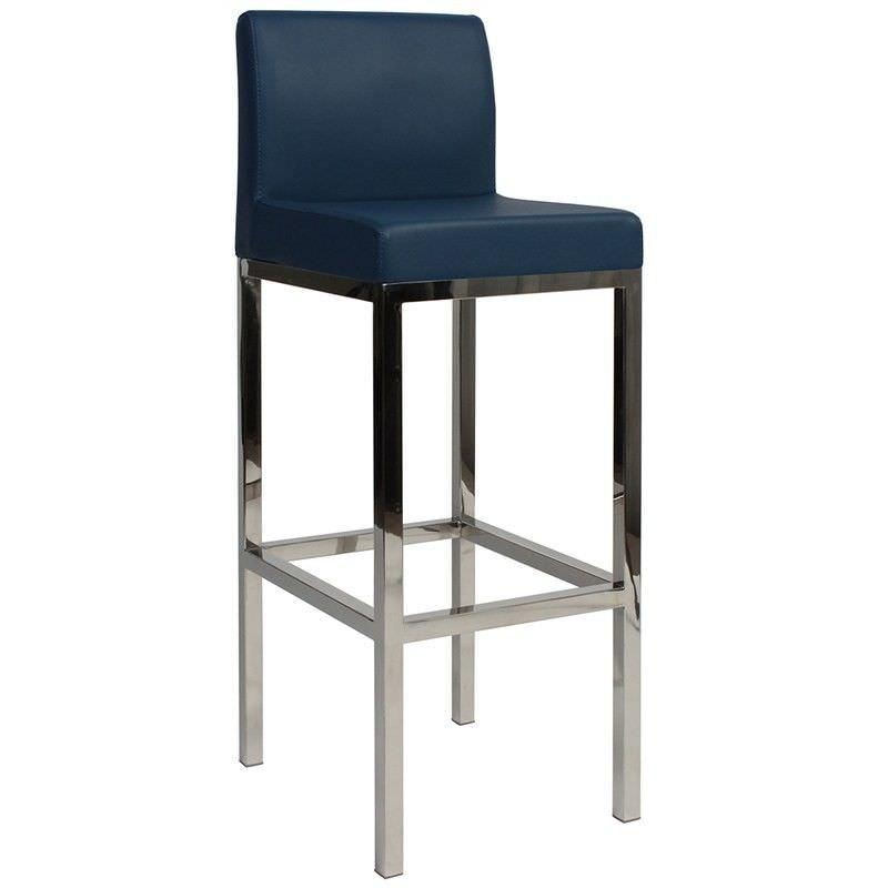 Lima V2 Commercial Grade Vinyl Upholstered Stainless Steel Bar Stool - Blue