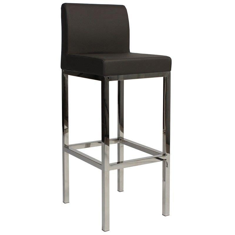 Lima V2 Commercial Grade Vinyl Upholstered Stainless Steel Bar Stool - Charcoal
