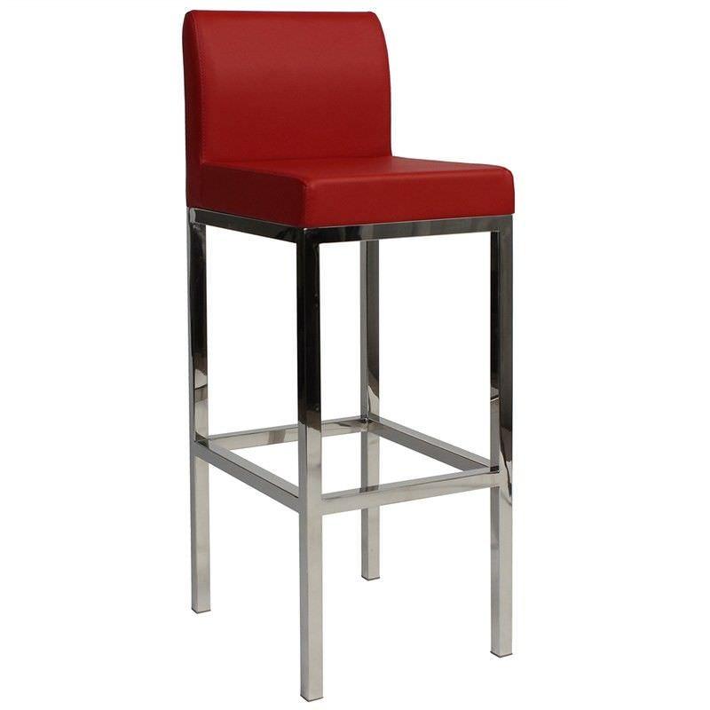 Lima V2 Commercial Grade Vinyl Upholstered Stainless Steel Bar Stool - Red