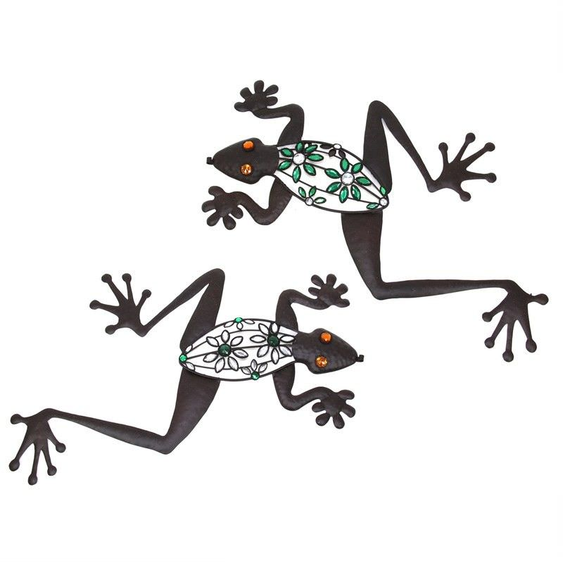Metal Frog With Flower Gem Wall Art  (Set Of 2)