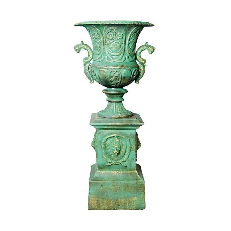 Bordeaux Cast Iron Garden Urn, Moss Green