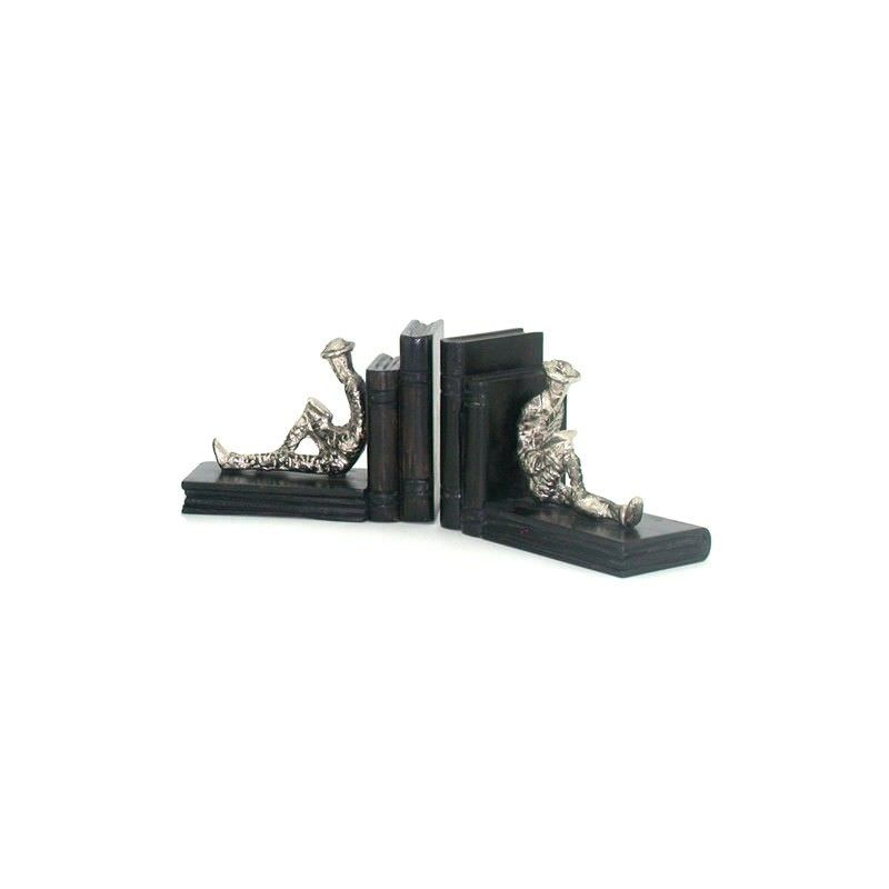 Nickel and Timber Resting Man Silver Bookend Set  - 37x11x15cm