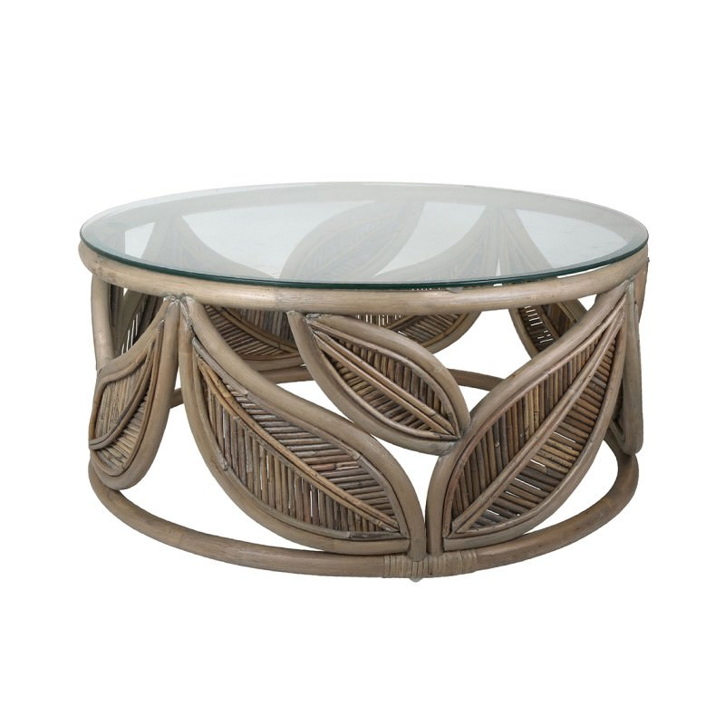 Seville Glass Topped Rattan Round Coffee Table, 81cm, Grey Wash