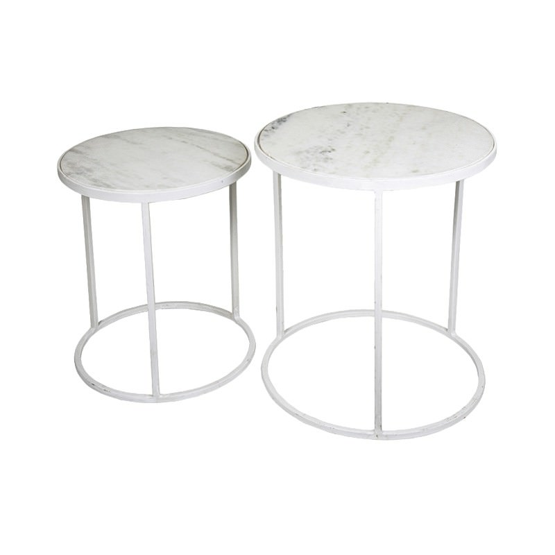 Nielsen 2 Piece Marble & Metal Side Table Set, Round, White