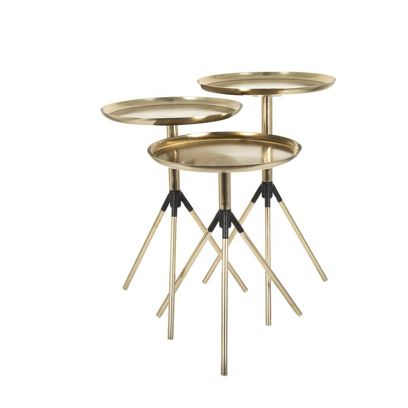Sahara 3 Piece Round Metal Tripod Side Table Set