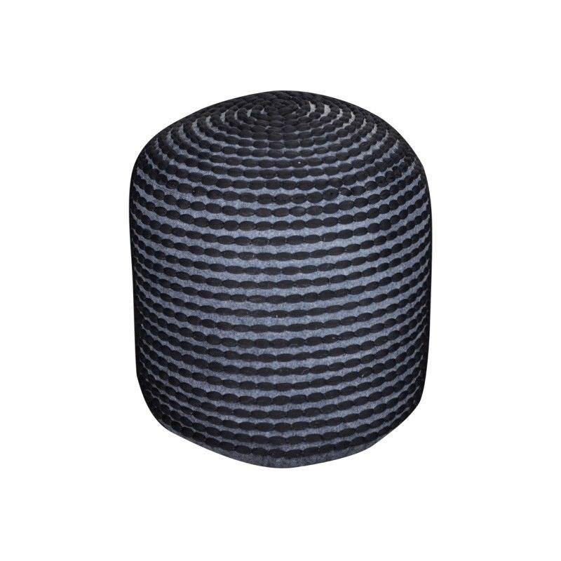 Rococco Fabric Round Pouf, Black