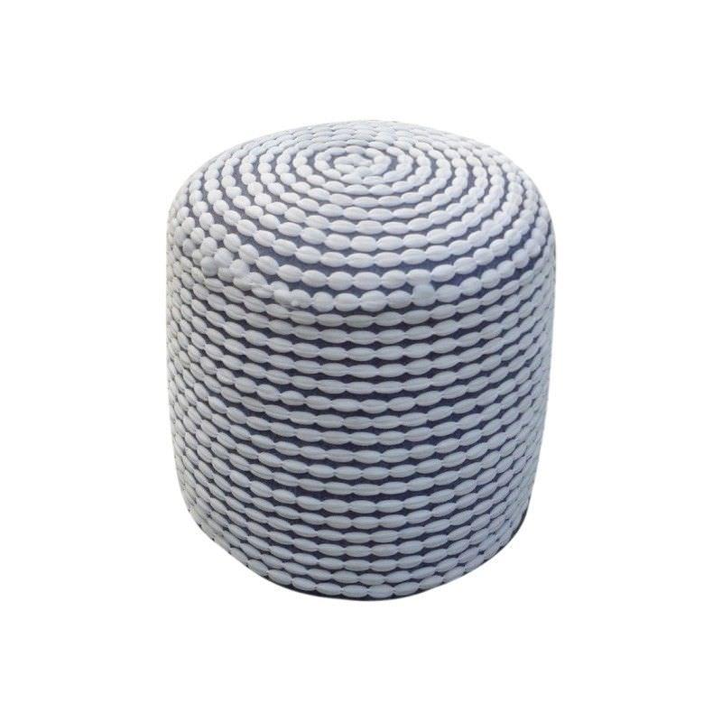Rococco Fabric Round Pouf, White