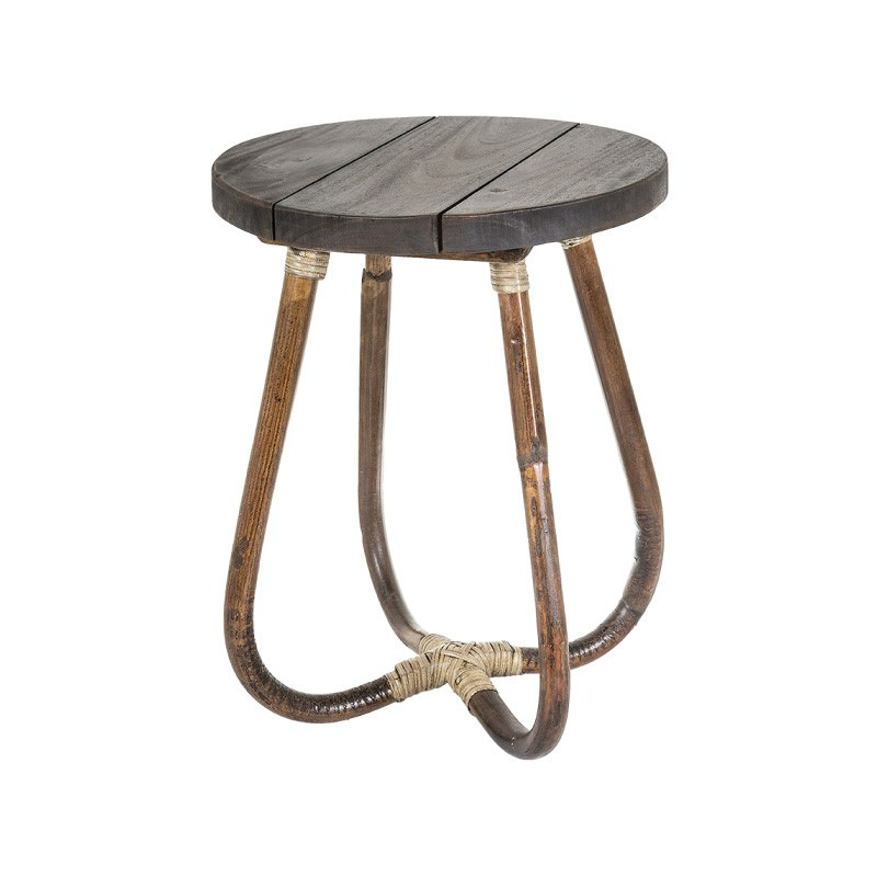 Bahama Wood & Bamboo Round Side Table, Brown