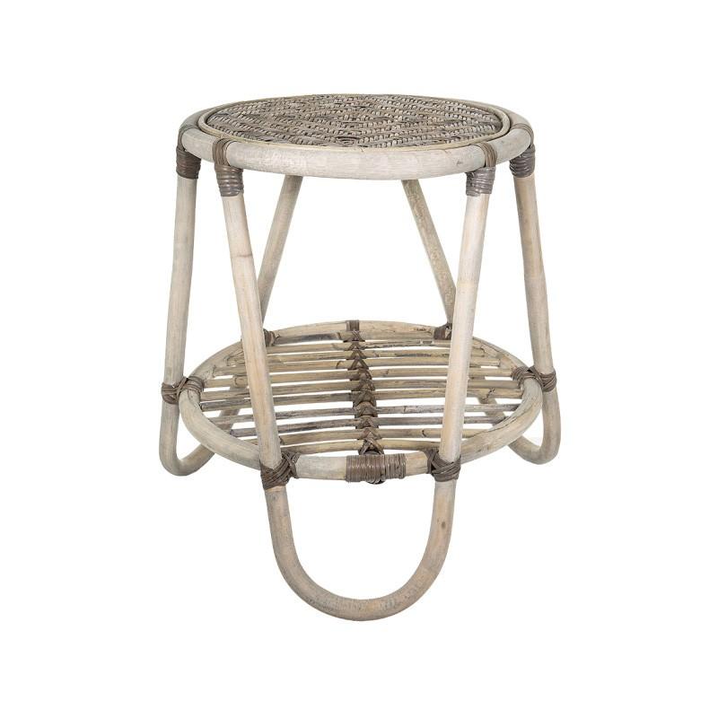 Bahama Bamboo Round Side Table, Grey Wash