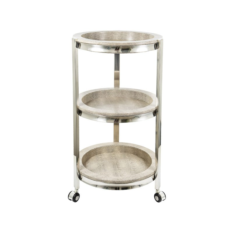 Alor 3 Tier Shagreen Stainless Steel Round Side Table