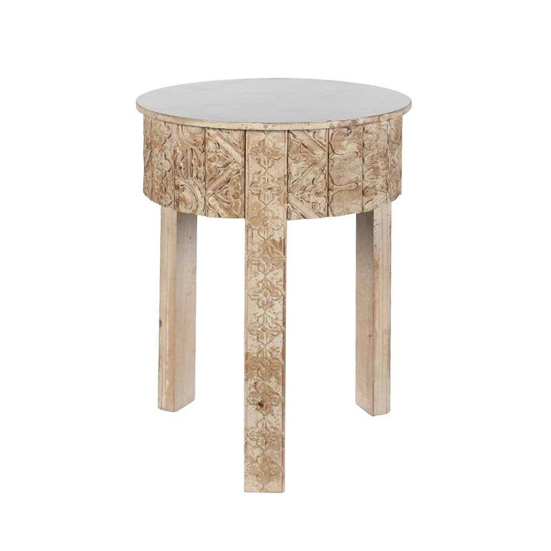 Anais Wooden Round Side Table