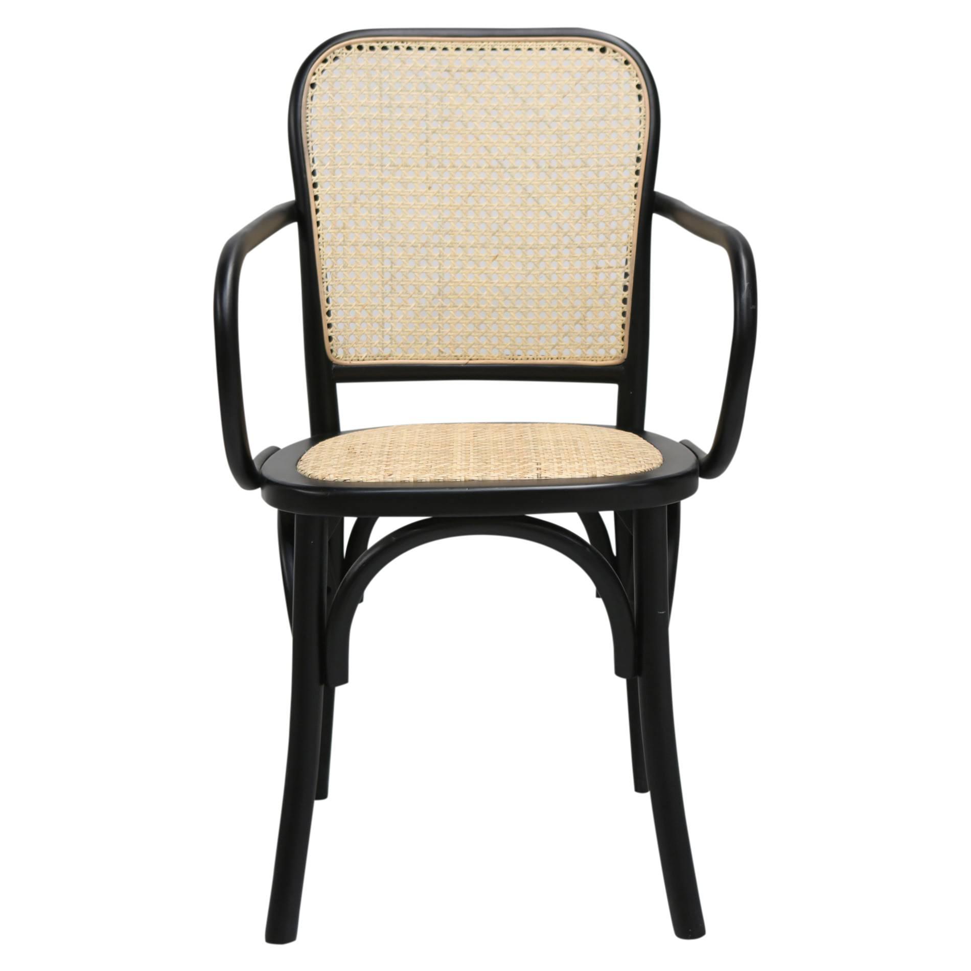 Cato Beech Timber & Rattan Dining Armchair, Black