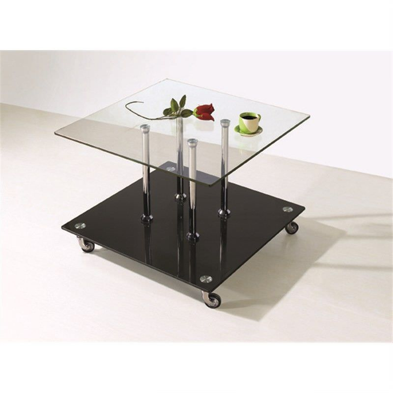 Barcelona Glass Lamp Table with Wheels - Clear/Black