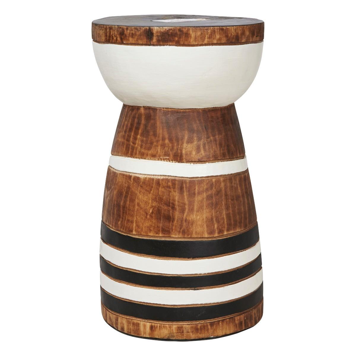 Maya Stripe Wooden Stool / Side Table