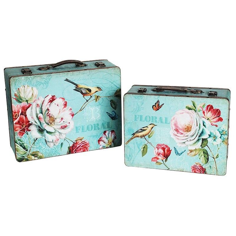 Green Bird and Flower Suitcase Set-2