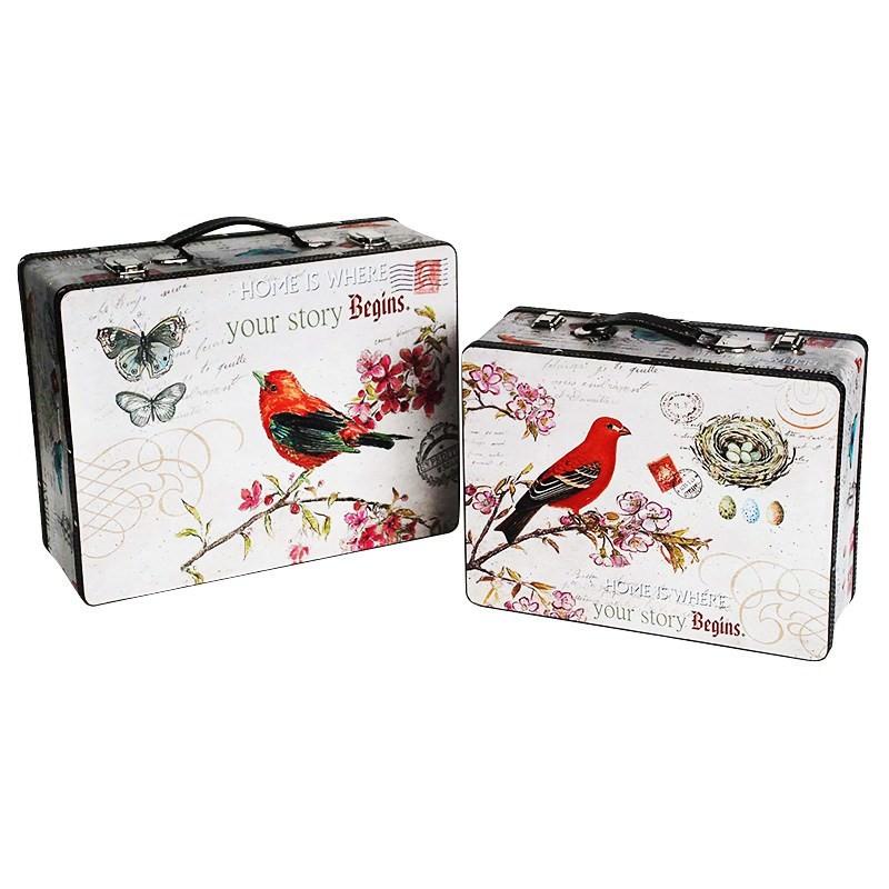 Set of 2 Bird & Flower Suitcase