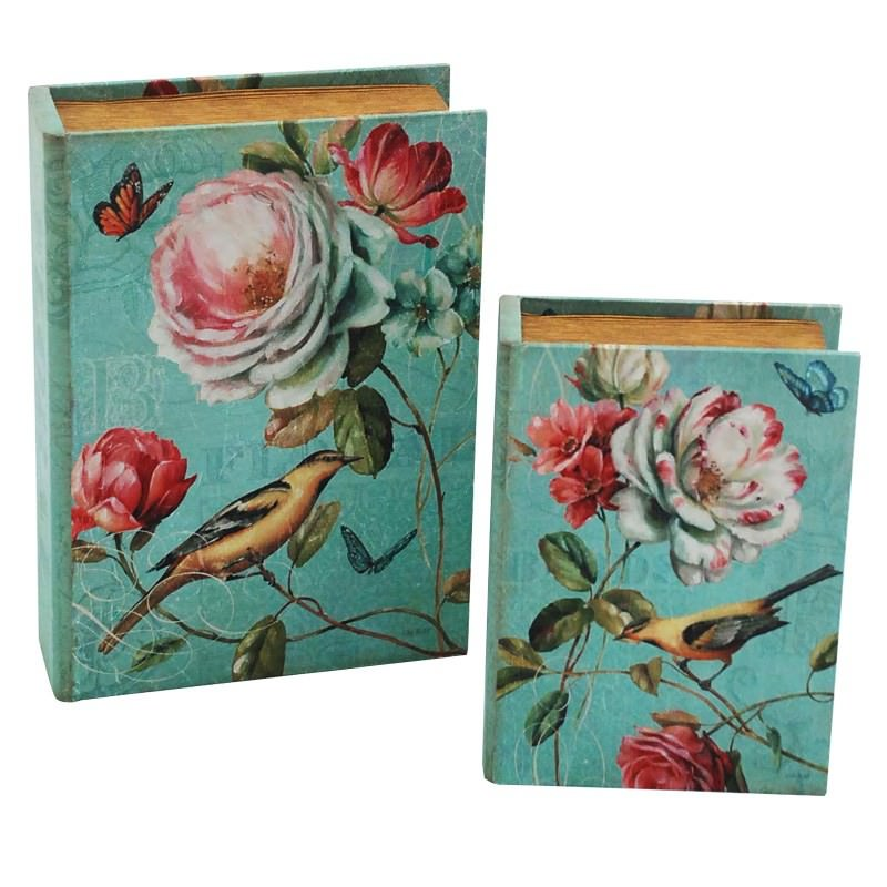 Green Bird and Flower Bookcase Set-2