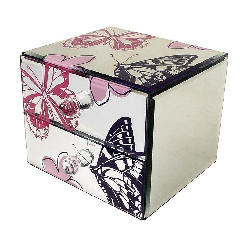 Glass Mirror  Butterfly 2 Drawer Jew Box