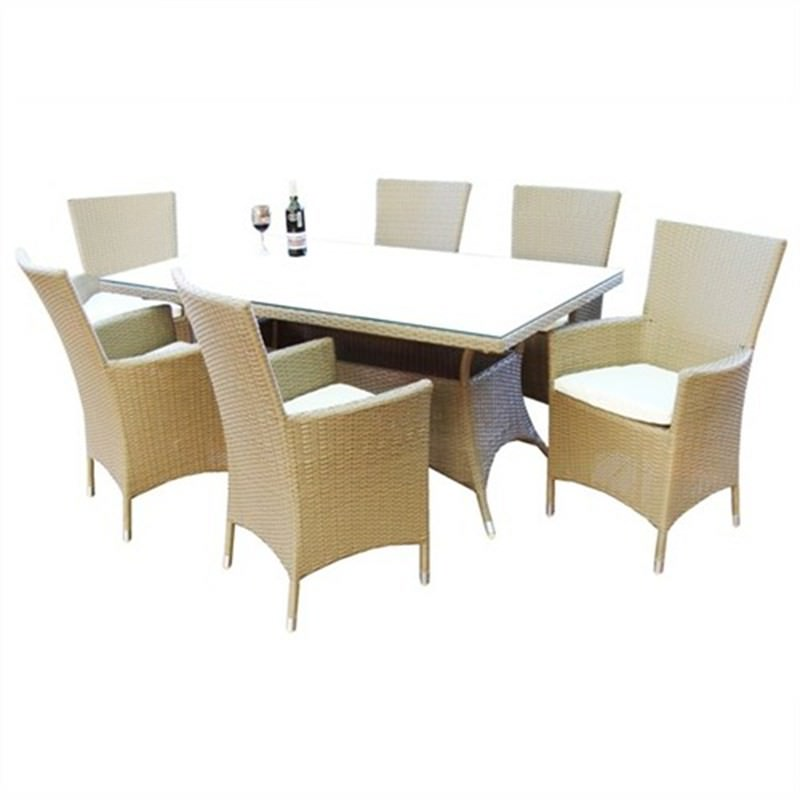 GEELONG, 6 Seater Dining Setting Light Brown UV Treated Weather Proff