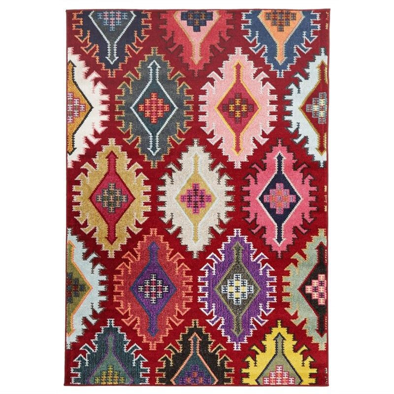 Kata Turkish Made Modern Rug in Red - 290x200cm
